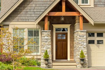4 Lite Craftsman Fiberglass Entry Door