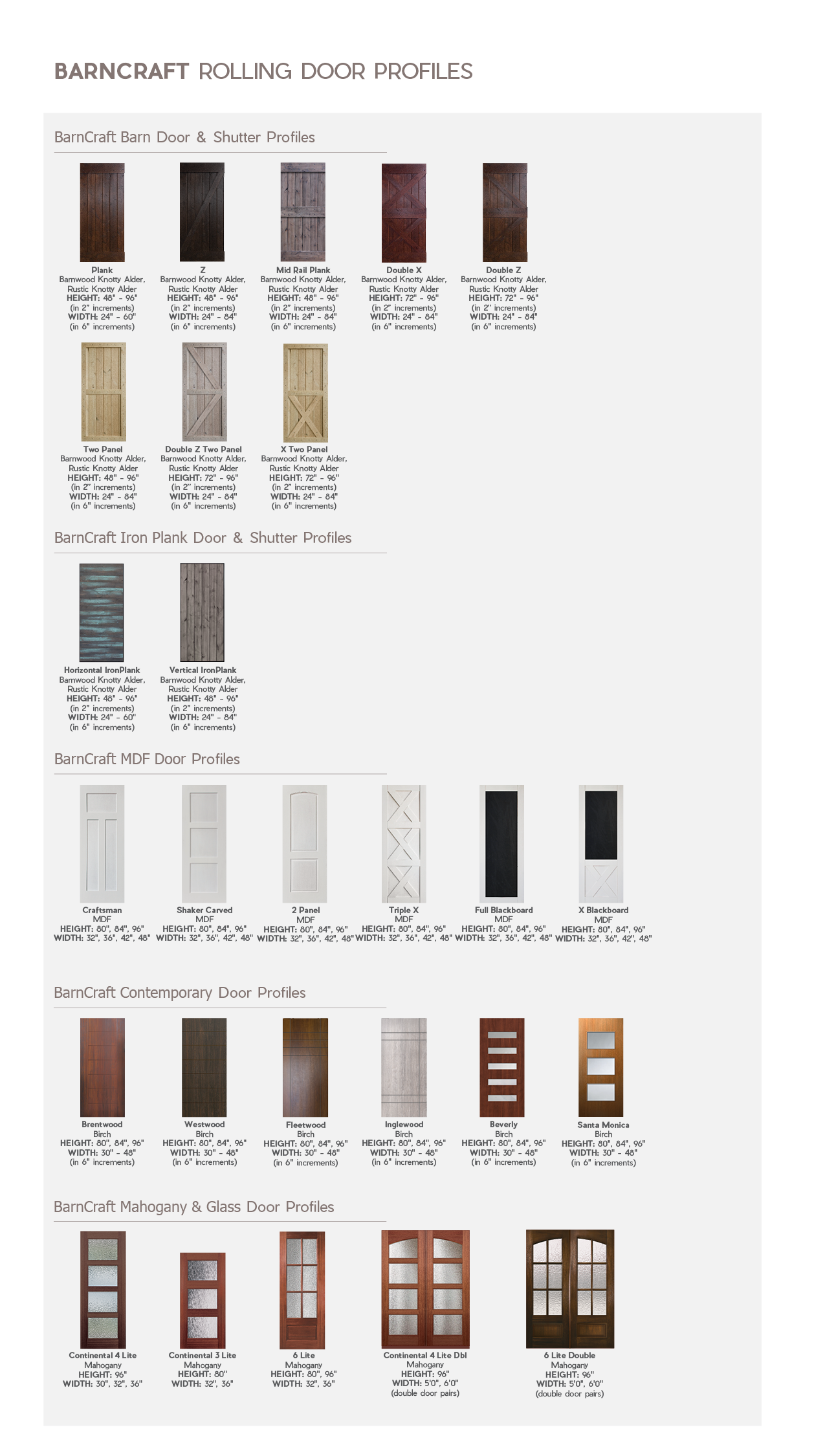 Barncraft Door Profiles Glasscraft Door Company